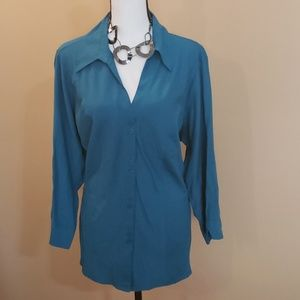 Teal 3/4 Sleeve Button Down Sz 18/20W